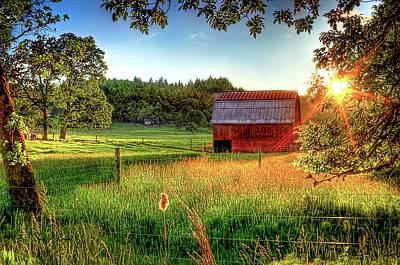 Photograph - Sunset Over The Old Barn by Tyra OBryant
