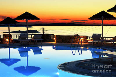 Hermes Wall Art - Photograph - Sunset Over The Pool Mykonos by John Rizzuto