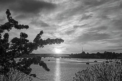 Photograph - Sunset Over The Salem Beverly Bridge From The Salem Willows Salem Ma Black And White by Toby McGuire