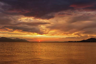 Sunset Over The Sea, Opuzen, Croatia Art Print