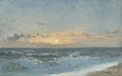 On The Beach Painting - Sunset Over The Sea by William Pye