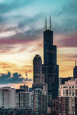 Photograph - Sunset Over The Sears Tower by Patrice Bilesimo