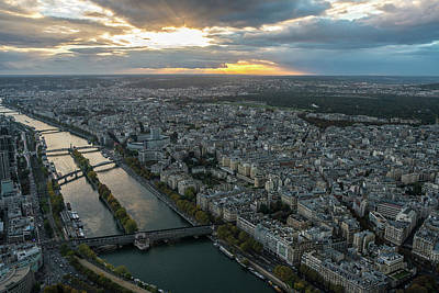 Sunset Over The Seine In Paris Art Print by Mike Reid