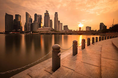 Sunset Over The Singapore Skyline Art Print by Hak87