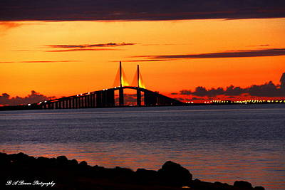 Sunset Over The Skyway Bridge Art Print
