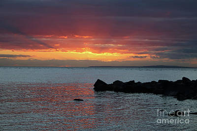 Photograph - Sunset Over The Solent Hampshire England Uk by Julia Gavin