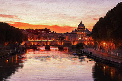 Painting - Sunset Over The St Peter Basilica by Andrea Mazzocchetti