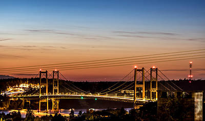 Sunset Over The Tacoma Narrows Bridges Art Print