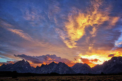 Photograph - Sunset Over The Tetons by Carolyn Derstine