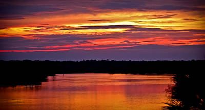 Sunset Over The Tomoka Art Print by DigiArt Diaries by Vicky B Fuller