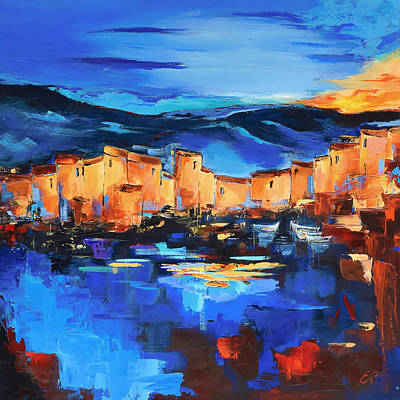 Cinque Terre Painting - Sunset Over The Village 2 By Elise Palmigiani by Elise Palmigiani