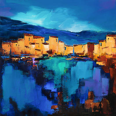 Abstract Skyline Paintings - Sunset Over the Village 3 by Elise Palmigiani by Elise Palmigiani