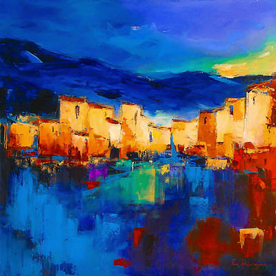 Abstract Seascape Art Painting - Sunset Over The Village by Elise Palmigiani
