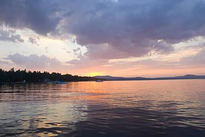 Natural Forces Photograph - Sunset Over The Water At Sebago Lake by Skip Brown