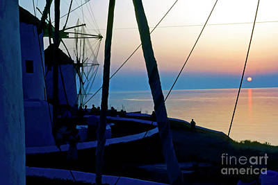 Digital Art - Sunset Over The Water In Mykonos by Sami Sarkis
