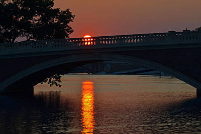 Photograph - Sunset Over The Weeks Bridge Harvard Square by Toby McGuire