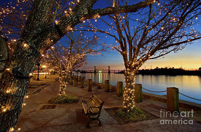 Sunset Over The Wilmington Waterfront In North Carolina, Usa Art Print