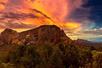 Kolob Photograph - Sunset Over Timber Top Mountain by TL  Mair