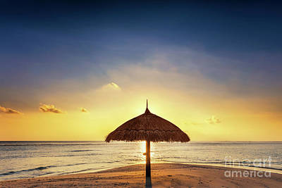 Photograph - Sunset Over Tropical Sandbank Island With Sunshade At Sunset. Maldives. by Michal Bednarek