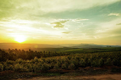 Photograph - Sunset Over Valley In Mpumalanga South Africa by Susan Schmitz