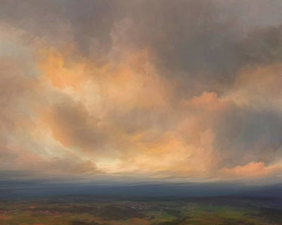 Deep Mixed Media - Sunset Over Valley by Lonnie Christopher