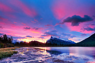 Photograph - Sunset Over Vermilion Lakes by U Schade