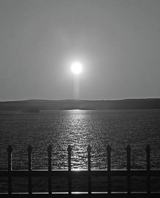 Photograph - Sunset Over Wachusett Reservoir Bnw by Michael Saunders