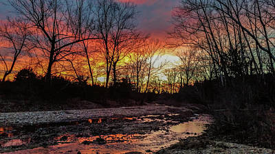Photograph - Sunset Over Winter Creek by Linda Shannon Morgan