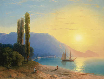 Russian Art Painting - Sunset Over Yalta by Ivan Aivazovsky