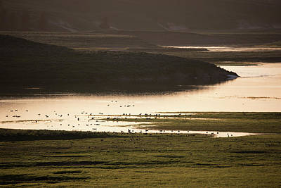 Photograph - Sunset Over Yellowstone River In Yellowstone National Park by Astrid Hinderks