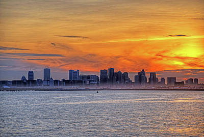 Winthrop Photograph - Sunset Ovet The Boston Skyline Boston Ma by Toby McGuire