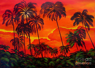 Painting - Sunset Palms by Anthony Dunphy
