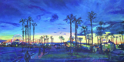 Painting - Sunset Palms Santa Monica by Bonnie Lambert