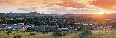 Photograph - Sunset Panorama Of Alpine And Sul Ross State University - Brewster County - Far West Texas by Silvio Ligutti