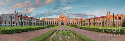 Photograph - Sunset Panorama Of Rice University Quad - Lovett Hall - Museum District Houston Texas by Silvio Ligutti