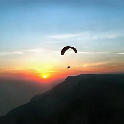 Painting - Sunset Paraglide by Tracey Harrington-Simpson