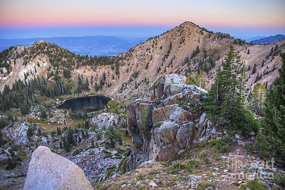 Photograph - Sunset Peak And Lake Catherine At Twilight by Spencer Baugh