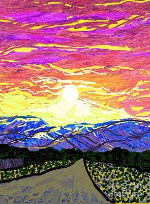 Socal Mixed Media - Sunset Pearblossom Highway by Ishy Christine