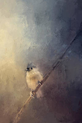 Titmouse Painting - Sunset Pearl Bird Art by Jai Johnson
