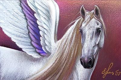 Wall Art - Drawing - Sunset Pegasus by Elena Kolotusha