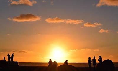 Sunset People In Imperial Beach Art Print by Karen J Shine