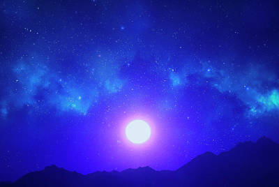 Photograph - Sunset Photoart In Blue by Johanna Hurmerinta