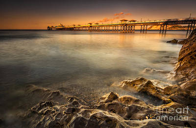 Sunset Pier Art Print by Adrian Evans