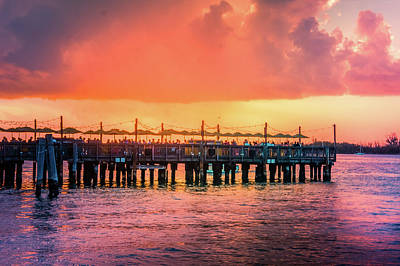 Sunset Pier At Mallory Square  Art Print