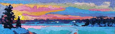 Painting - Sunset Pink Snow by Phil Chadwick