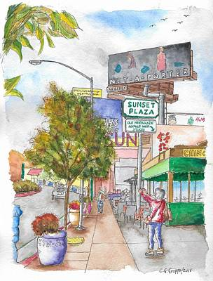 Sunset Plaza, Sunset Blvd., And Londonderry, West Hollywood, California Art Print by Carlos G Groppa
