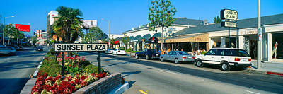 Sunset Plaza, Sunset Blvd, Los Angeles Art Print by Panoramic Images