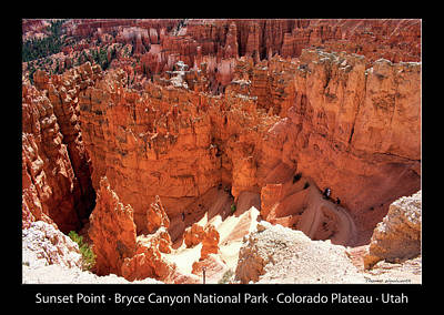 Photograph - Sunset Point Bryce Canyon Utah 01 Text Black by Thomas Woolworth