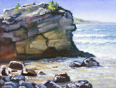 Painting - Sunset Point- Presque Isle Park- Lake Superior by Larry Seiler