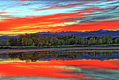 Art Print featuring the photograph Sunset Ponds by Scott Mahon